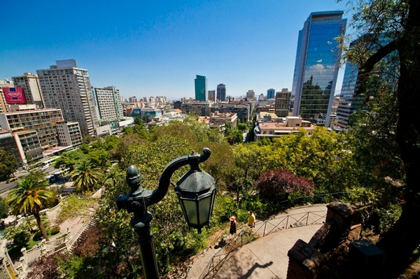 Панорамный вид на парк в Сантьяго