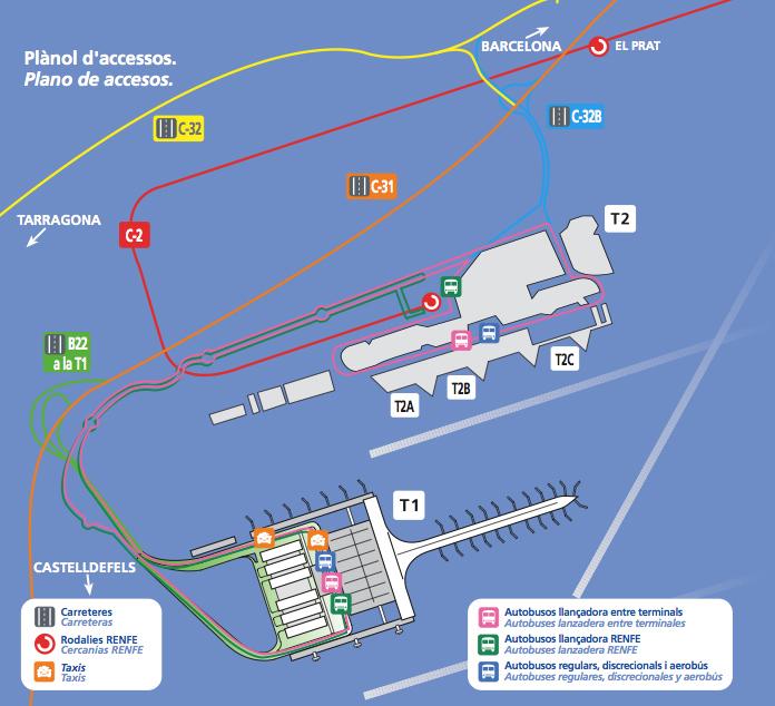 Карта аэропорта Барселона