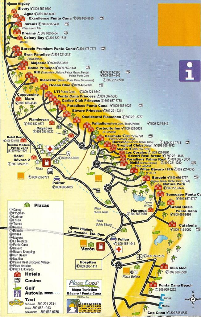 туристическая карта гостиниц и пляжей Пунта-Каны