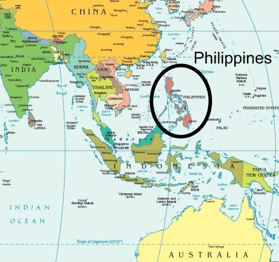 Филиппины на карте мира