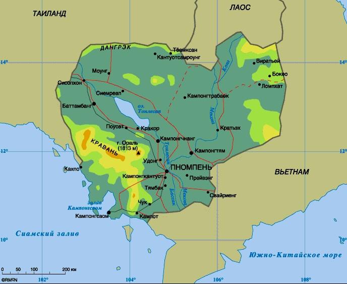 Камбоджа на карте мира