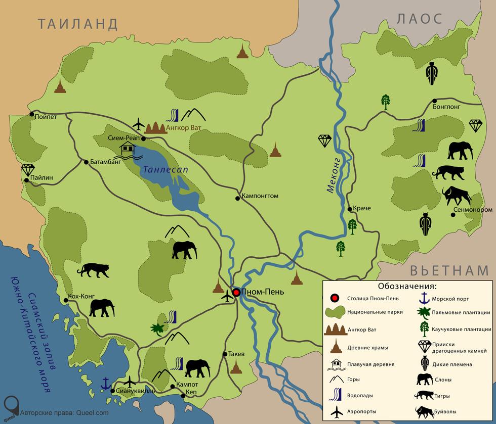 Карта Камбоджи с достопримечательностями