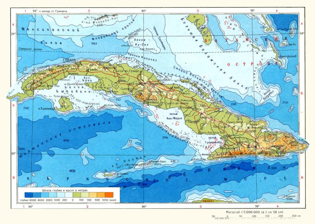 Карта острова Куба