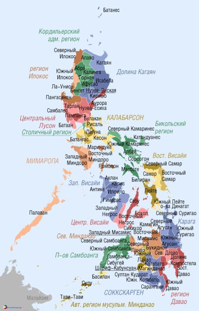 Подробная карта Филиппин.