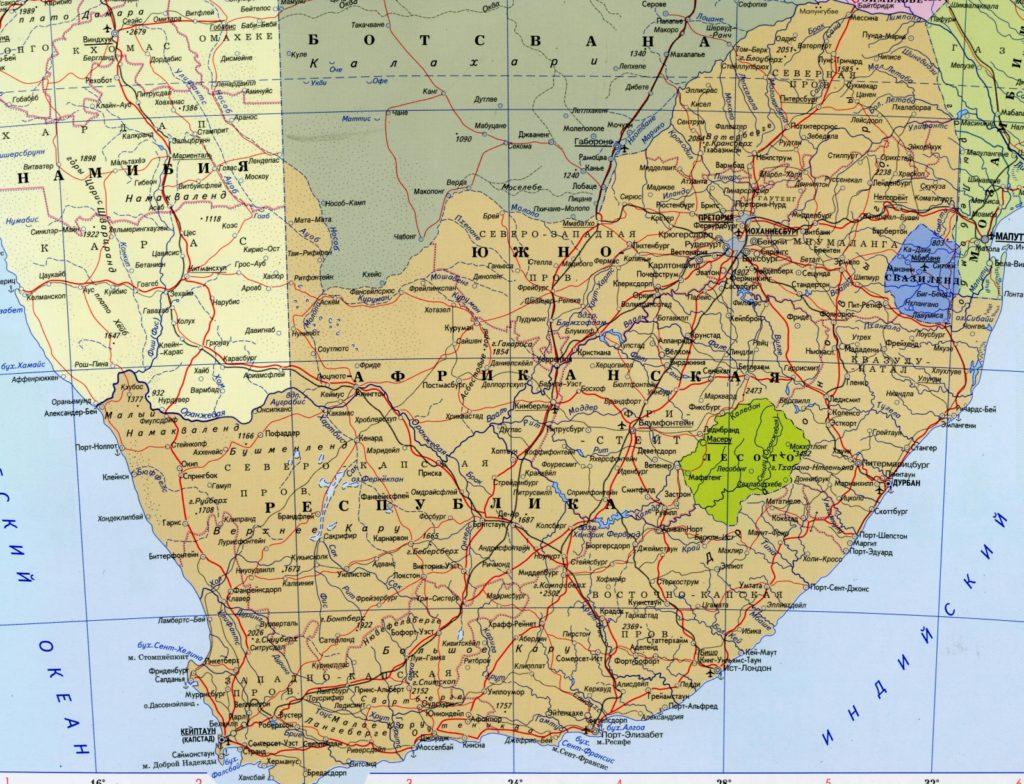 Подробная карта ЮАР
