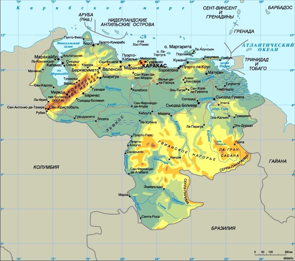 Венесуэла на карте