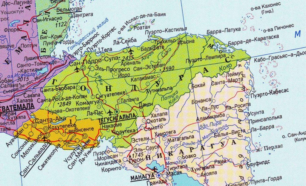 Политическая карта Гондураса