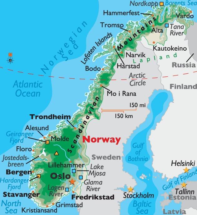 Хардангер-фьорд на карте Норвегии