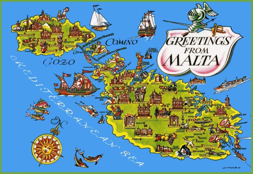 Карта достопримечательностей Мальты