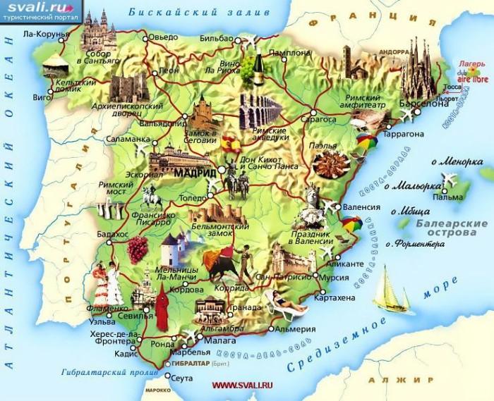 Карта Испании
