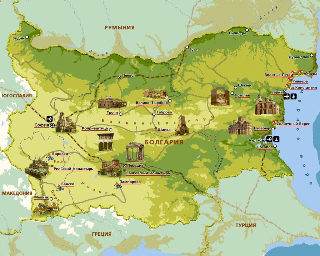 карта болгария