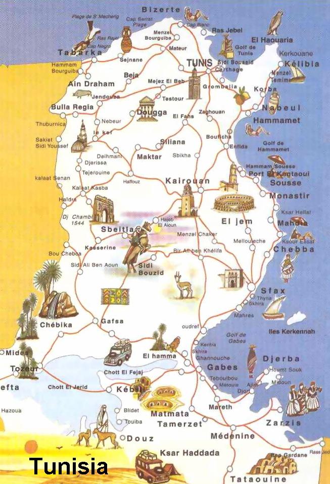 Туристическая карта Туниса с достопримечательностями
