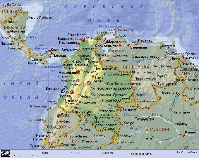 колумбия карта