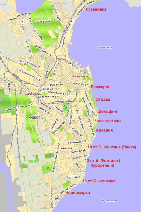все официальные пляжи Одессы на карте