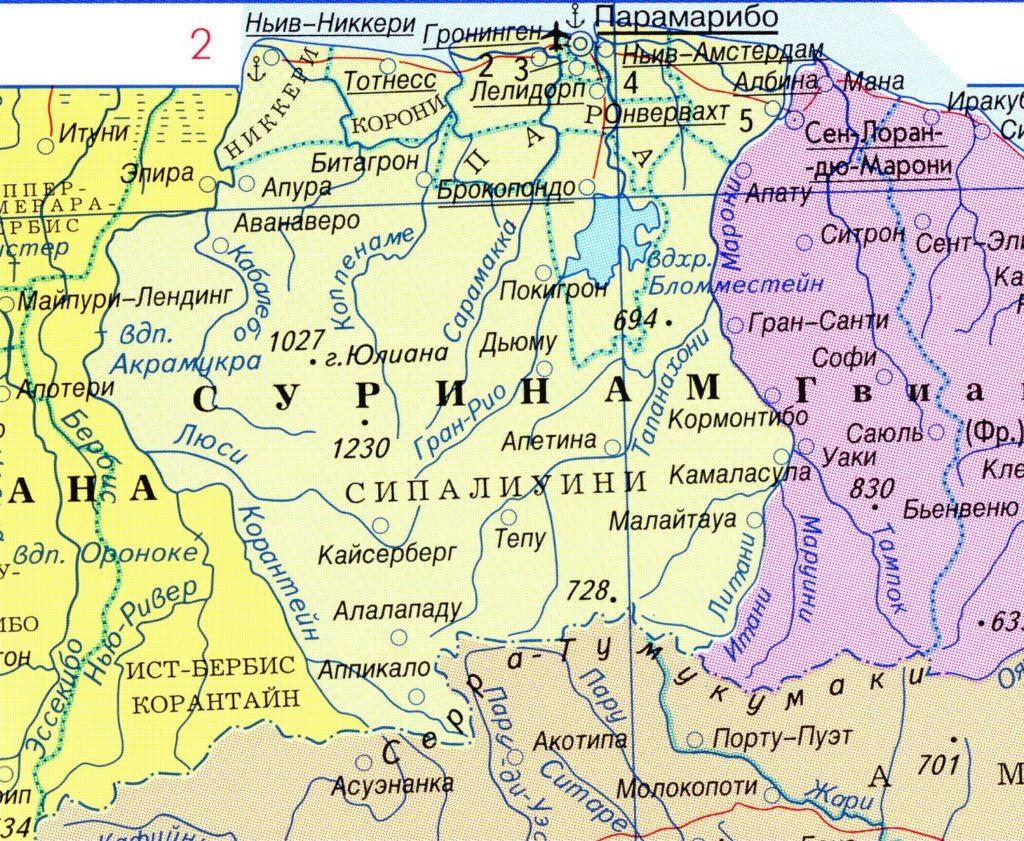 Политическая карта Суринама на русском языке